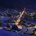 写真: 冰雪中的白川?夜景