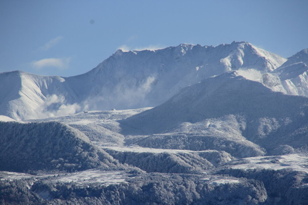 弥陀ヶ原火山の噴気と立山