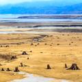 写真: 春の糠平湖